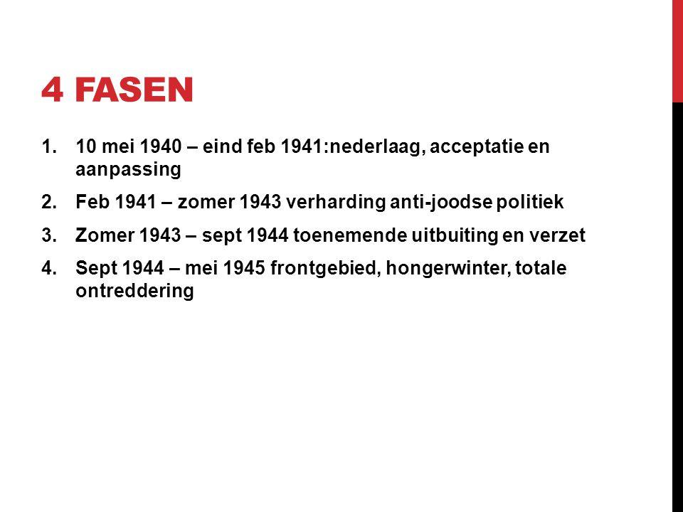 4 FASEN 1.10 mei 1940 – eind feb 1941:nederlaag, acceptatie en aanpassing 2.Feb 1941 – zomer 1943 verharding anti-joodse politiek 3.Zomer 1943 – sept