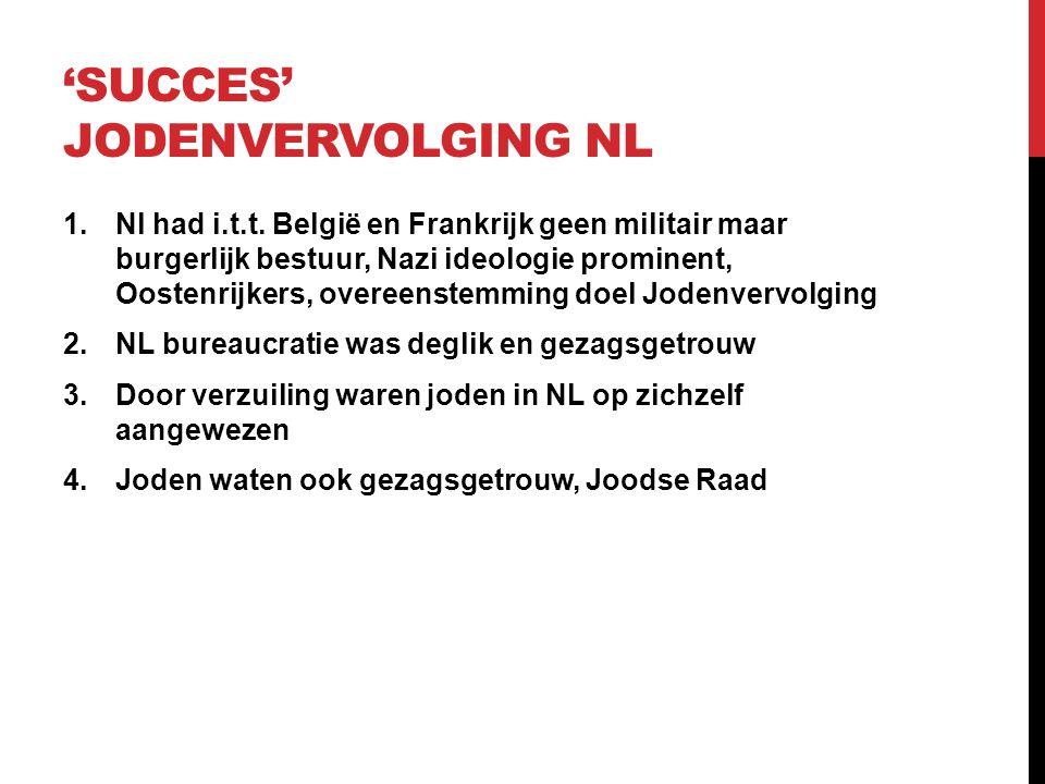 'SUCCES' JODENVERVOLGING NL 1.Nl had i.t.t. België en Frankrijk geen militair maar burgerlijk bestuur, Nazi ideologie prominent, Oostenrijkers, overee