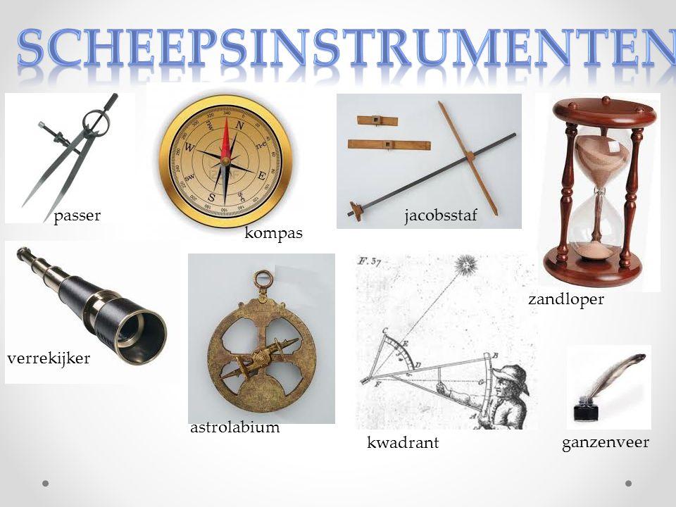 passer kompas ganzenveer jacobsstaf verrekijker zandloper astrolabium kwadrant