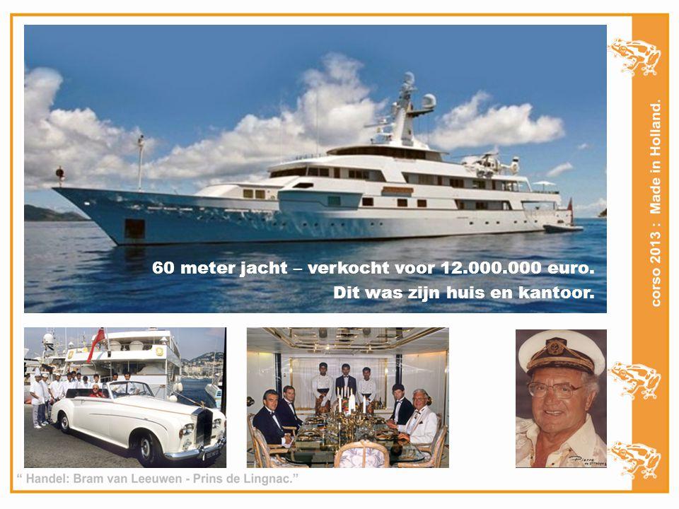 60 meter jacht – verkocht voor 12.000.000 euro. Dit was zijn huis en kantoor.