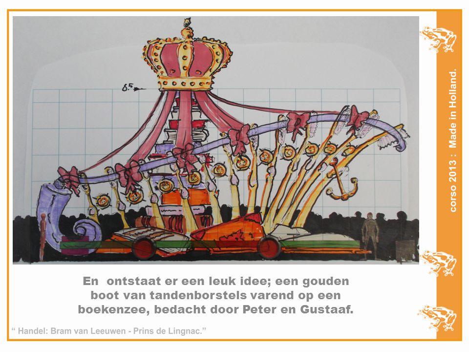 En ontstaat er een leuk idee; een gouden boot van tandenborstels varend op een boekenzee, bedacht door Peter en Gustaaf.