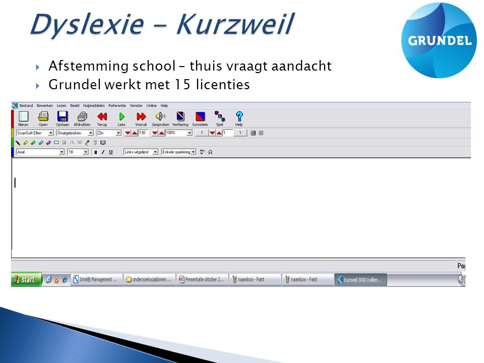  Afstemming school – thuis vraagt aandacht  Grundel werkt met 15 licenties