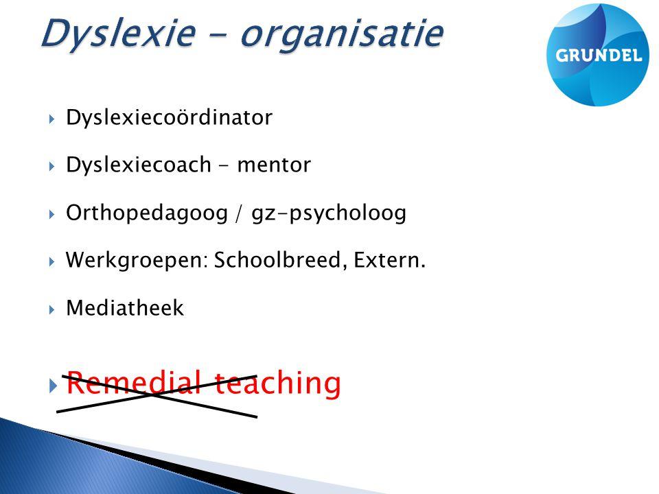  Dyslexiecoördinator  Dyslexiecoach - mentor  Orthopedagoog / gz-psycholoog  Werkgroepen: Schoolbreed, Extern.