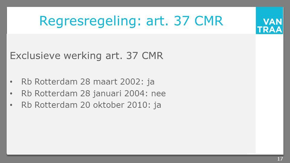 Regresregeling: art.37 CMR Exclusieve werking art.