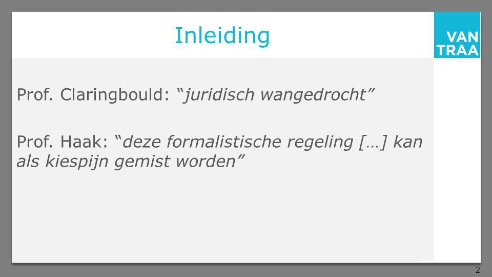 Inleiding Prof.Claringbould: juridisch wangedrocht Prof.