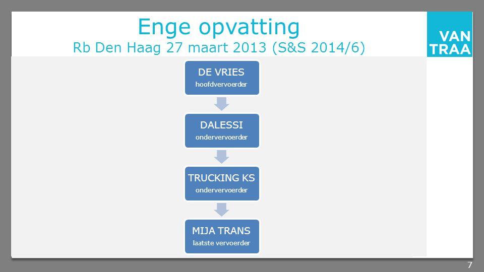 Enge opvatting Rb Den Haag 27 maart 2013 (S&S 2014/6) 7 DE VRIES hoofdvervoerder DALESSI ondervervoerder TRUCKING KS ondervervoerder MIJA TRANS laatste vervoerder
