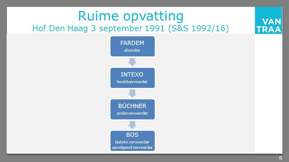 Ruime opvatting Hof Den Haag 3 september 1991 (S&S 1992/16) 8 FARDEM afzender INTEXO hoofdvervoerder BÜCHNER ondervervoerder BOS laatste vervoerder opvolgend vervoerder