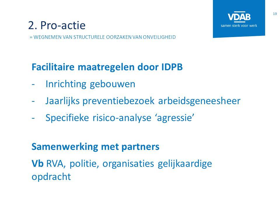 2. Pro-actie = WEGNEMEN VAN STRUCTURELE OORZAKEN VAN ONVEILIGHEID Facilitaire maatregelen door IDPB -Inrichting gebouwen -Jaarlijks preventiebezoek ar