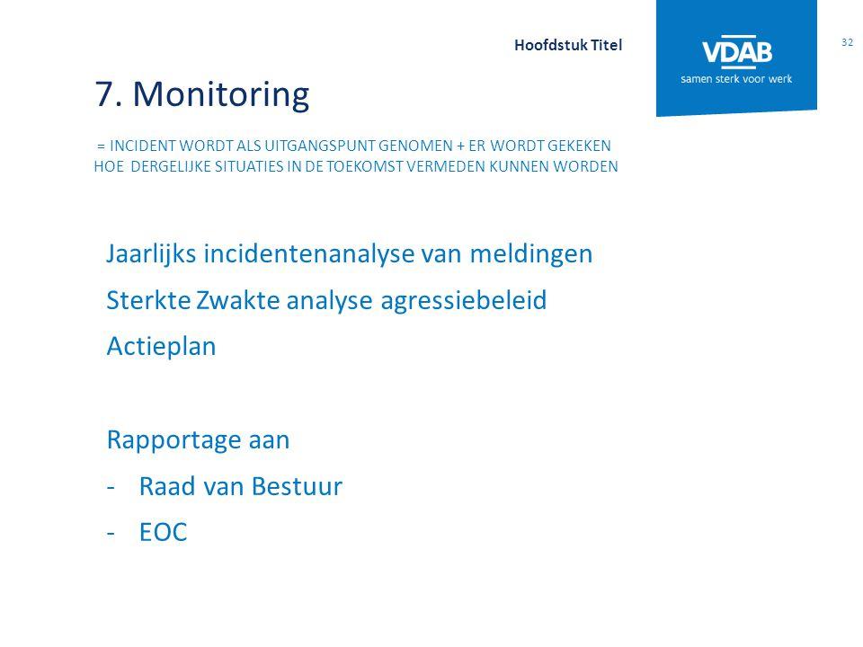 7. Monitoring = INCIDENT WORDT ALS UITGANGSPUNT GENOMEN + ER WORDT GEKEKEN HOE DERGELIJKE SITUATIES IN DE TOEKOMST VERMEDEN KUNNEN WORDEN Jaarlijks in