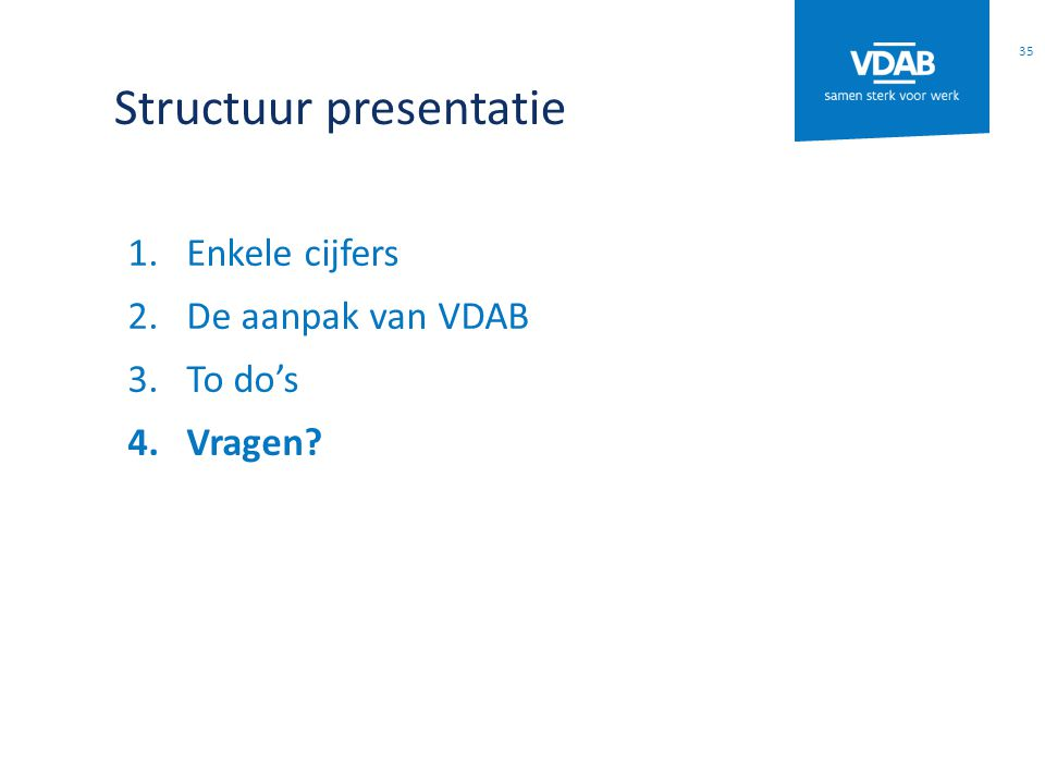 Structuur presentatie 1.Enkele cijfers 2.De aanpak van VDAB 3.To do's 4.Vragen 35