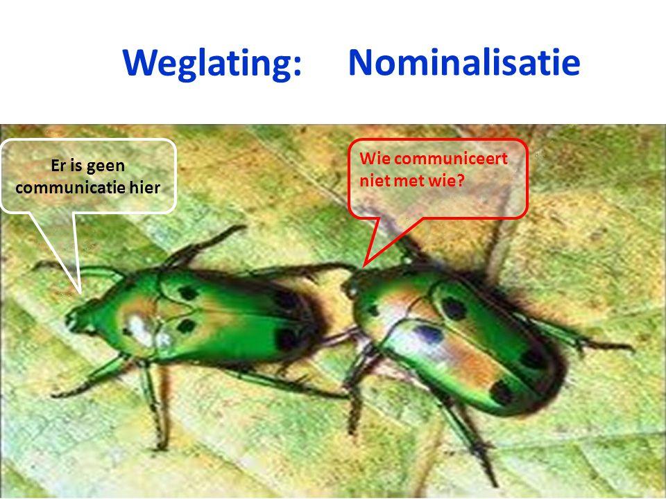 Weglating: Nominalisatie Er is geen communicatie hier Wie communiceert niet met wie?