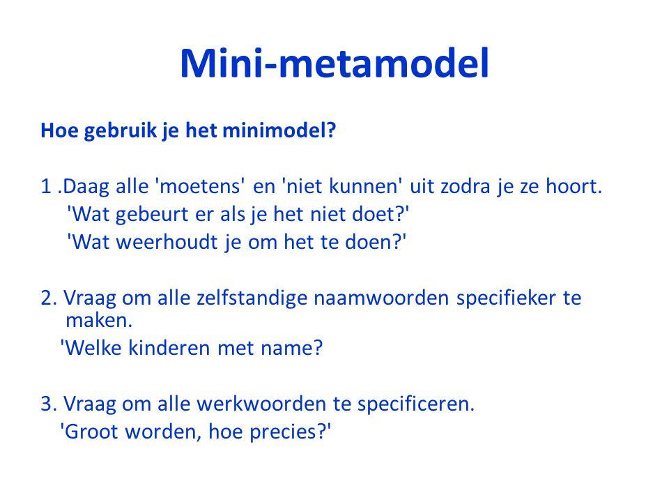 Mini-metamodel Hoe gebruik je het minimodel? 1.Daag alle 'moetens' en 'niet kunnen' uit zodra je ze hoort. 'Wat gebeurt er als je het niet doet?' 'Wat