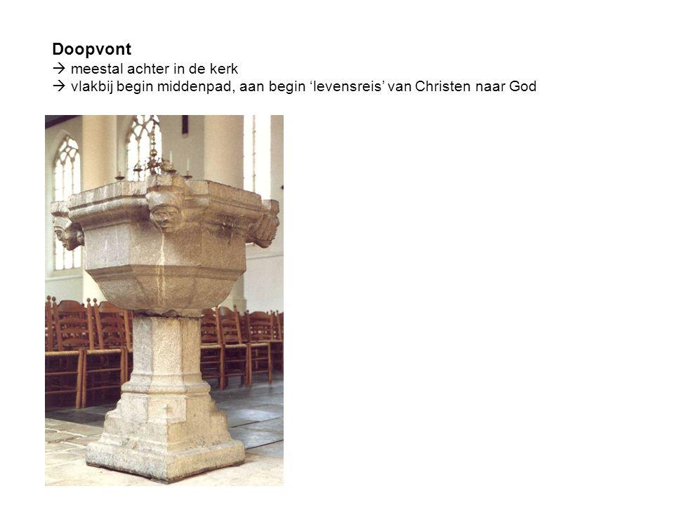 Doopvont  meestal achter in de kerk  vlakbij begin middenpad, aan begin 'levensreis' van Christen naar God