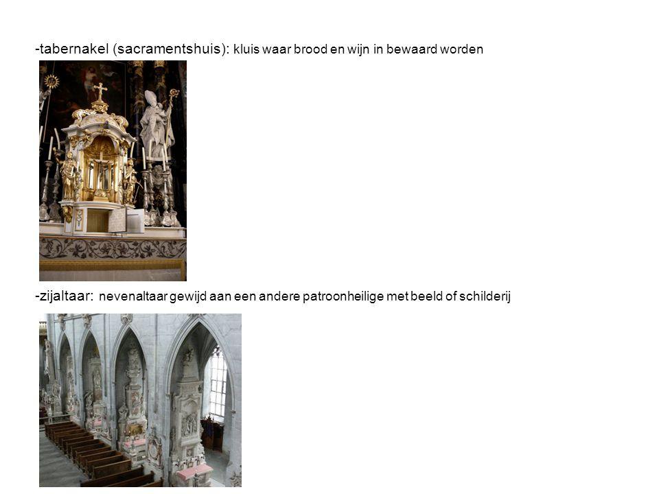 -tabernakel (sacramentshuis): kluis waar brood en wijn in bewaard worden -zijaltaar: nevenaltaar gewijd aan een andere patroonheilige met beeld of schilderij