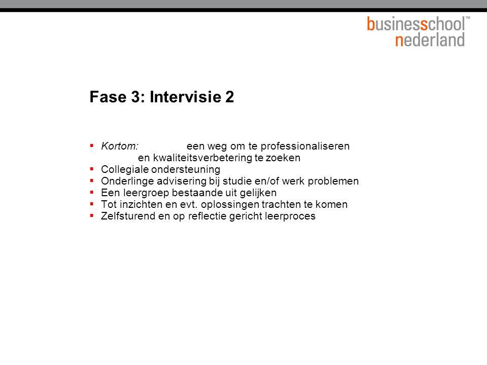 Fase 3: Intervisie 2  Kortom:een weg om te professionaliseren en kwaliteitsverbetering te zoeken  Collegiale ondersteuning  Onderlinge advisering bij studie en/of werk problemen  Een leergroep bestaande uit gelijken  Tot inzichten en evt.