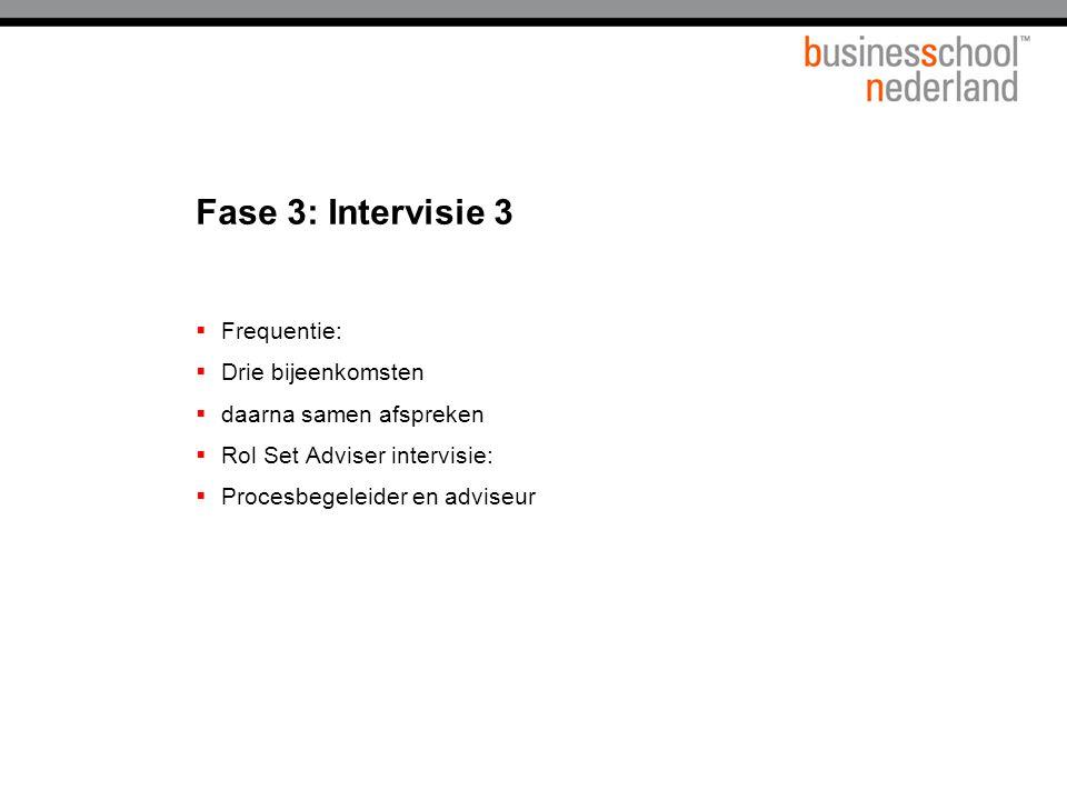 Fase 3: Intervisie 3  Frequentie:  Drie bijeenkomsten  daarna samen afspreken  Rol Set Adviser intervisie:  Procesbegeleider en adviseur