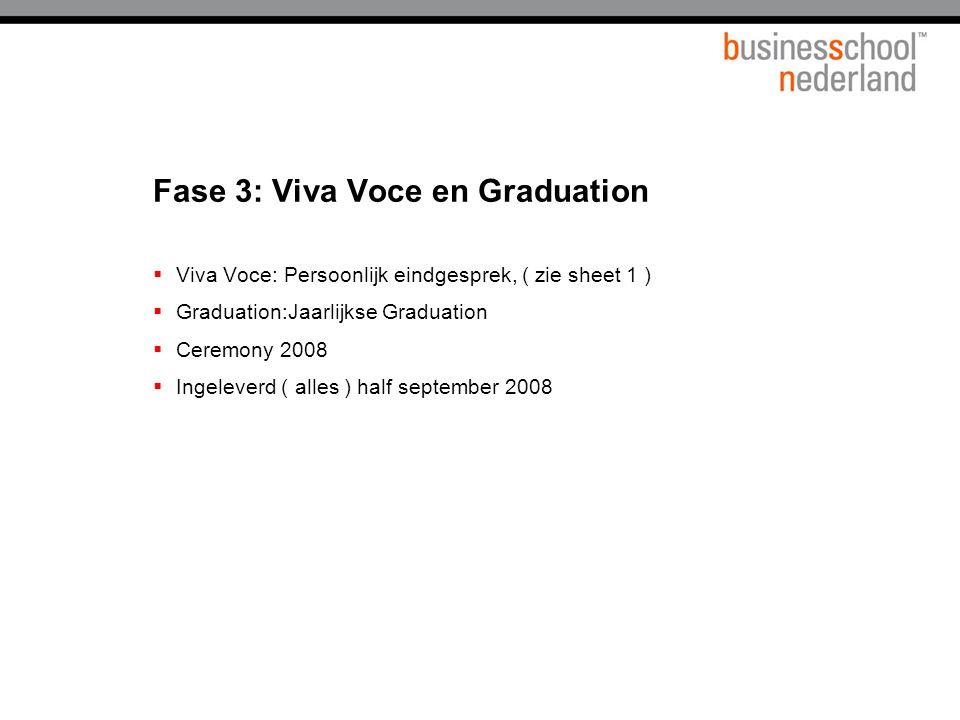 Fase 3: Viva Voce en Graduation  Viva Voce: Persoonlijk eindgesprek, ( zie sheet 1 )  Graduation:Jaarlijkse Graduation  Ceremony 2008  Ingeleverd ( alles ) half september 2008