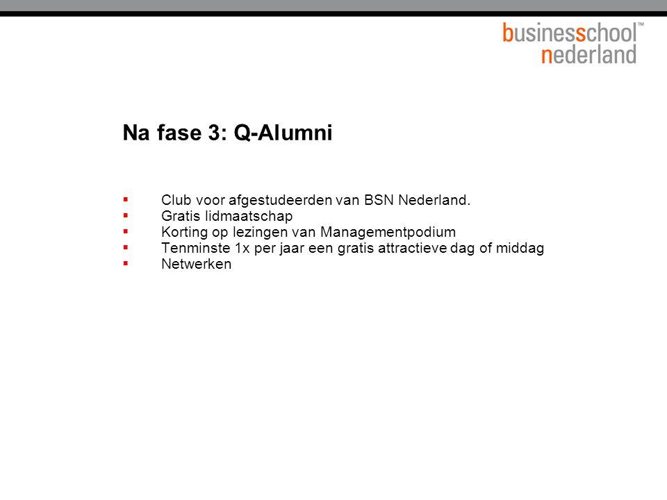Na fase 3: Q-Alumni  Club voor afgestudeerden van BSN Nederland.