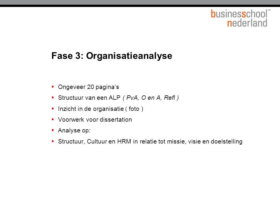 Fase 3: Organisatieanalyse  Ongeveer 20 pagina's  Structuur van een ALP ( PvA, O en A, Refl )  Inzicht in de organisatie ( foto )  Voorwerk voor dissertation  Analyse op:  Structuur, Cultuur en HRM in relatie tot missie, visie en doelstelling