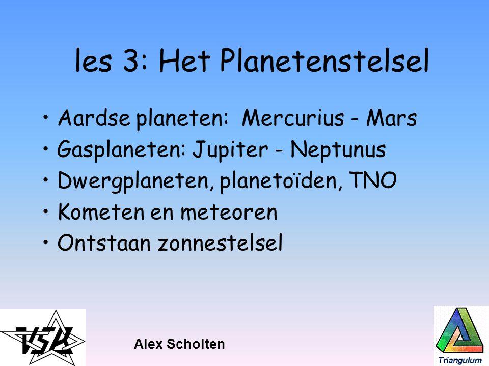 les 3: Het Planetenstelsel Aardse planeten: Mercurius - Mars Gasplaneten: Jupiter - Neptunus Dwergplaneten, planetoïden, TNO Kometen en meteoren Ontst