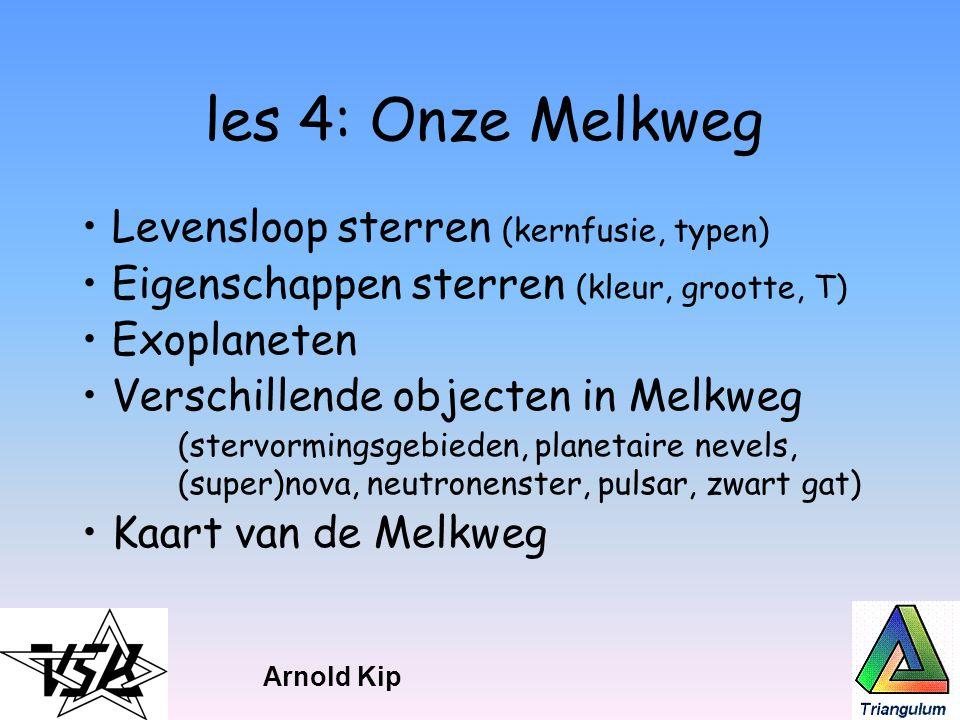 les 4: Onze Melkweg Levensloop sterren (kernfusie, typen) Eigenschappen sterren (kleur, grootte, T) Exoplaneten Verschillende objecten in Melkweg (ste