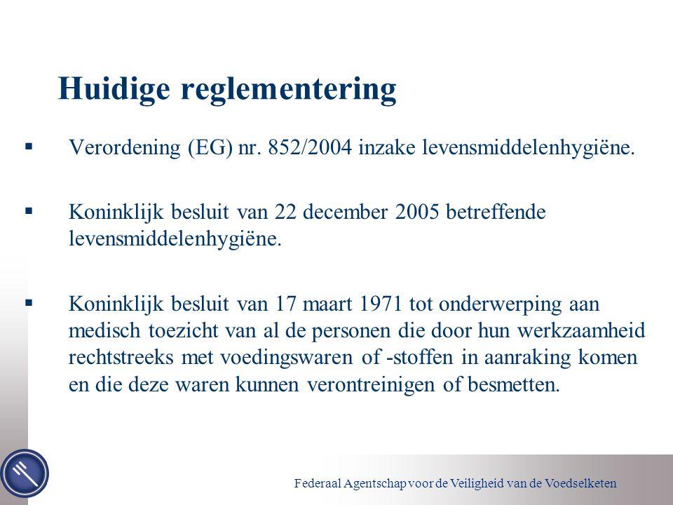 Federaal Agentschap voor de Veiligheid van de Voedselketen Huidige reglementering  Verordening (EG) nr. 852/2004 inzake levensmiddelenhygiëne.  Koni