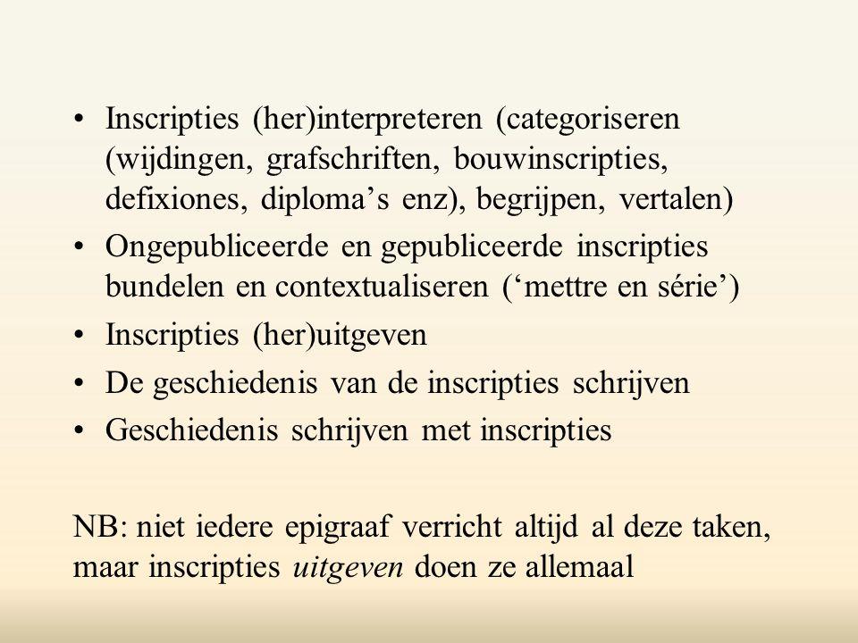 Inscripties (her)interpreteren (categoriseren (wijdingen, grafschriften, bouwinscripties, defixiones, diploma's enz), begrijpen, vertalen) Ongepublice