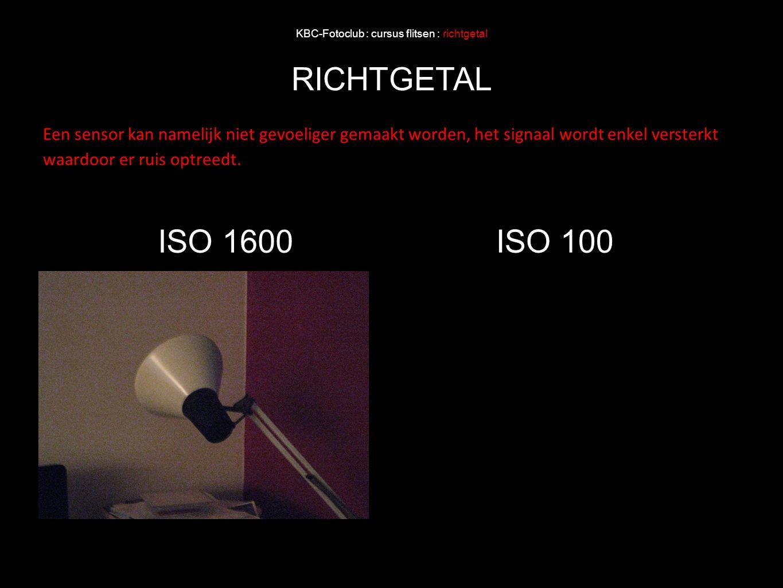 KBC-Fotoclub : cursus flitsen : richtgetal RICHTGETAL Een sensor kan namelijk niet gevoeliger gemaakt worden, het signaal wordt enkel versterkt waardo
