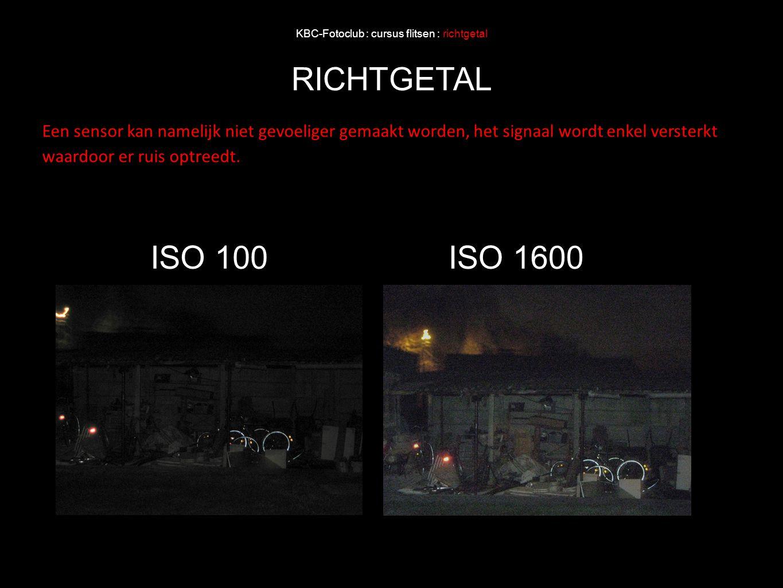 KBC-Fotoclub : cursus flitsen : richtgetal RICHTGETAL ISO 100ISO 1600 Een sensor kan namelijk niet gevoeliger gemaakt worden, het signaal wordt enkel
