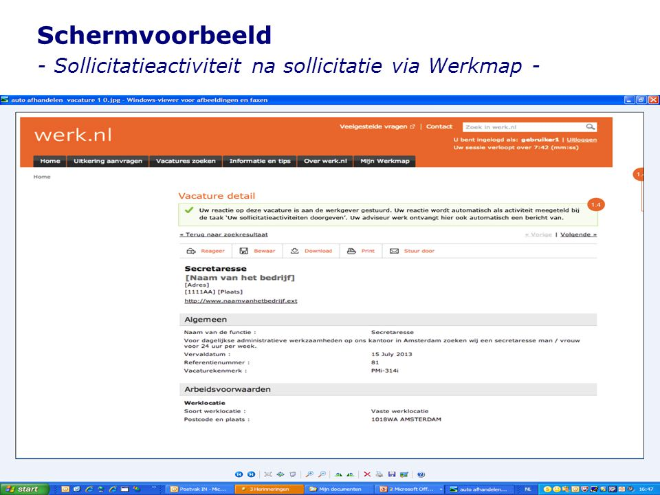 Schermvoorbeeld - Sollicitatieactiviteit na sollicitatie via Werkmap -