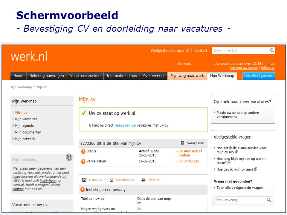 Schermvoorbeeld - Bevestiging CV en doorleiding naar vacatures -