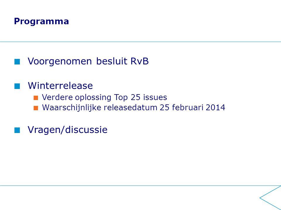 Programma Voorgenomen besluit RvB Winterrelease Verdere oplossing Top 25 issues Waarschijnlijke releasedatum 25 februari 2014 Vragen/discussie