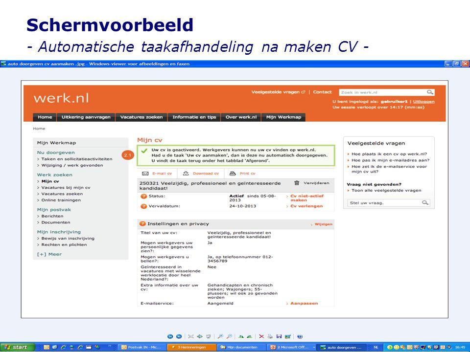 Schermvoorbeeld - Automatische taakafhandeling na maken CV -