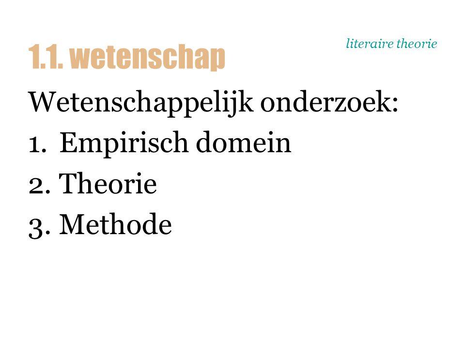 literaire theorie Wetenschappelijk onderzoek: 1.Empirisch domein 2.Theorie 3.Methode 1.1. wetenschap