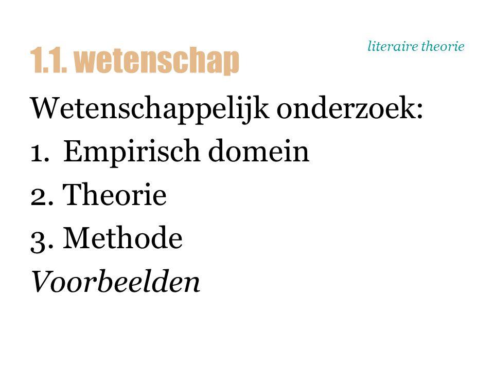 literaire theorie Wetenschappelijk onderzoek: 1.Empirisch domein 2.Theorie 3.Methode Voorbeelden 1.1. wetenschap
