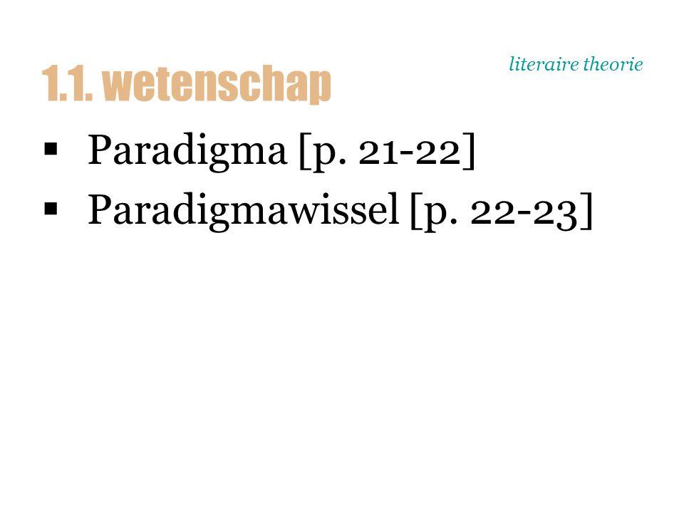literaire theorie  Paradigma [p. 21-22]  Paradigmawissel [p. 22-23] 1.1. wetenschap