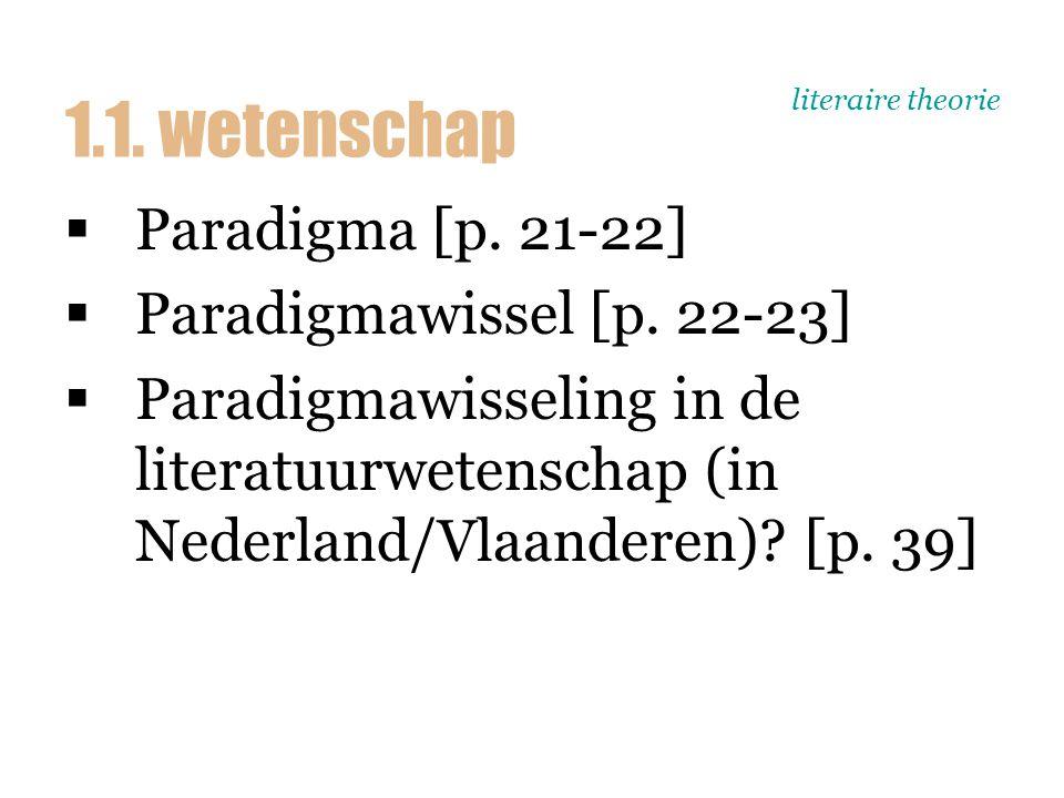 literaire theorie  Paradigma [p. 21-22]  Paradigmawissel [p. 22-23]  Paradigmawisseling in de literatuurwetenschap (in Nederland/Vlaanderen)? [p. 3