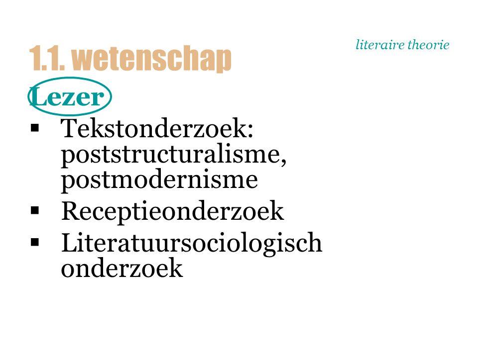 literaire theorie Lezer  Tekstonderzoek: poststructuralisme, postmodernisme  Receptieonderzoek  Literatuursociologisch onderzoek 1.1.