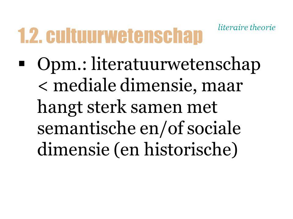 literaire theorie  Opm.: literatuurwetenschap < mediale dimensie, maar hangt sterk samen met semantische en/of sociale dimensie (en historische) 1.2.