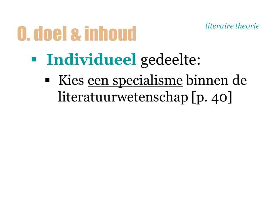literaire theorie  Individueel gedeelte:  Kies een specialisme binnen de literatuurwetenschap [p. 40] O. doel & inhoud