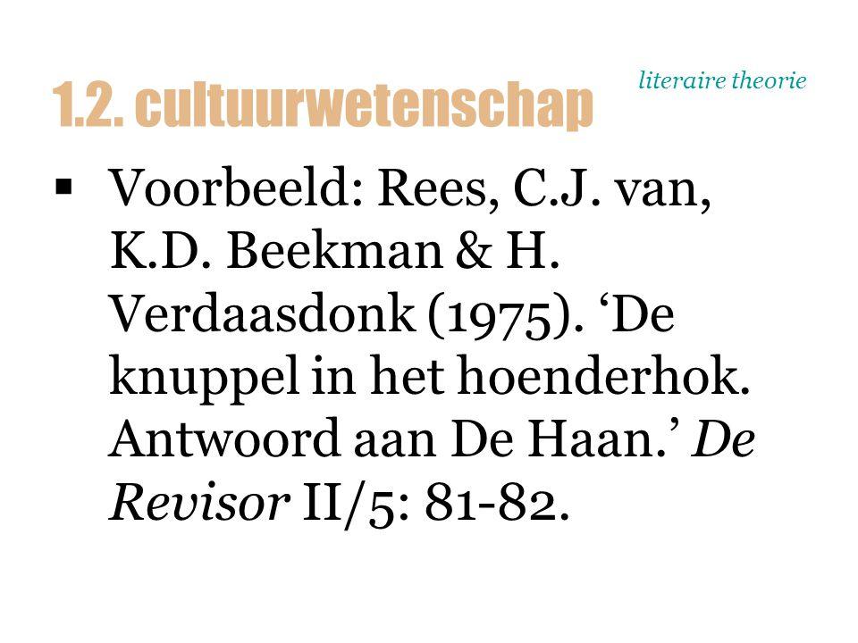 literaire theorie  Voorbeeld: Rees, C.J. van, K.D. Beekman & H. Verdaasdonk (1975). 'De knuppel in het hoenderhok. Antwoord aan De Haan.' De Revisor