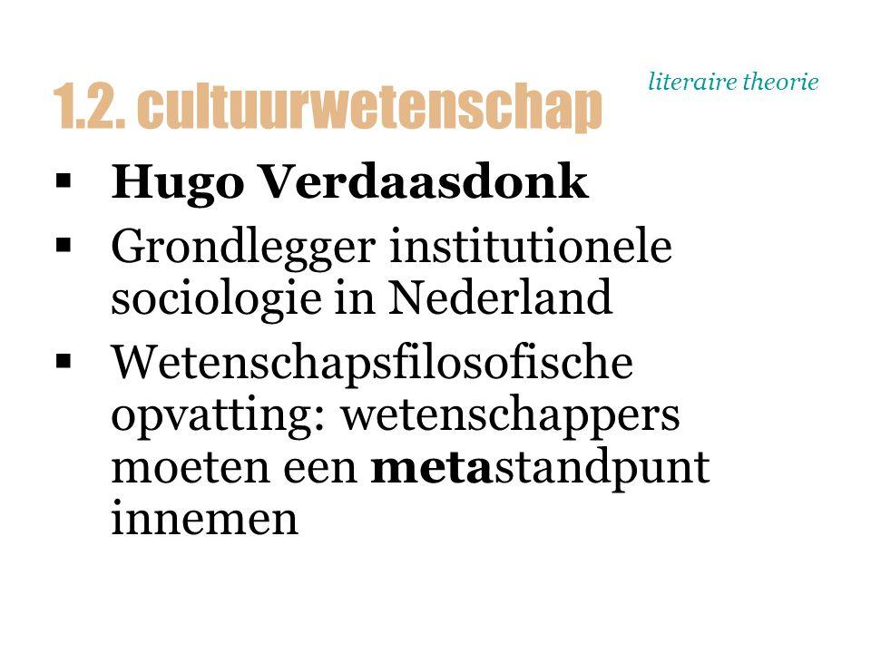 literaire theorie  Hugo Verdaasdonk  Grondlegger institutionele sociologie in Nederland  Wetenschapsfilosofische opvatting: wetenschappers moeten e