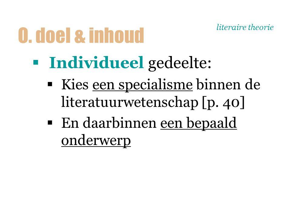 literaire theorie  Individueel gedeelte:  Kies een specialisme binnen de literatuurwetenschap [p. 40]  En daarbinnen een bepaald onderwerp O. doel