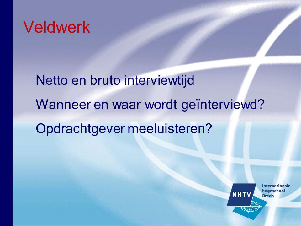 Veldwerk Netto en bruto interviewtijd Wanneer en waar wordt geïnterviewd? Opdrachtgever meeluisteren?