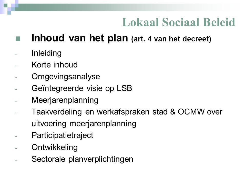 Lokaal Sociaal Beleid Inleiding - Wettelijk kader - Art.
