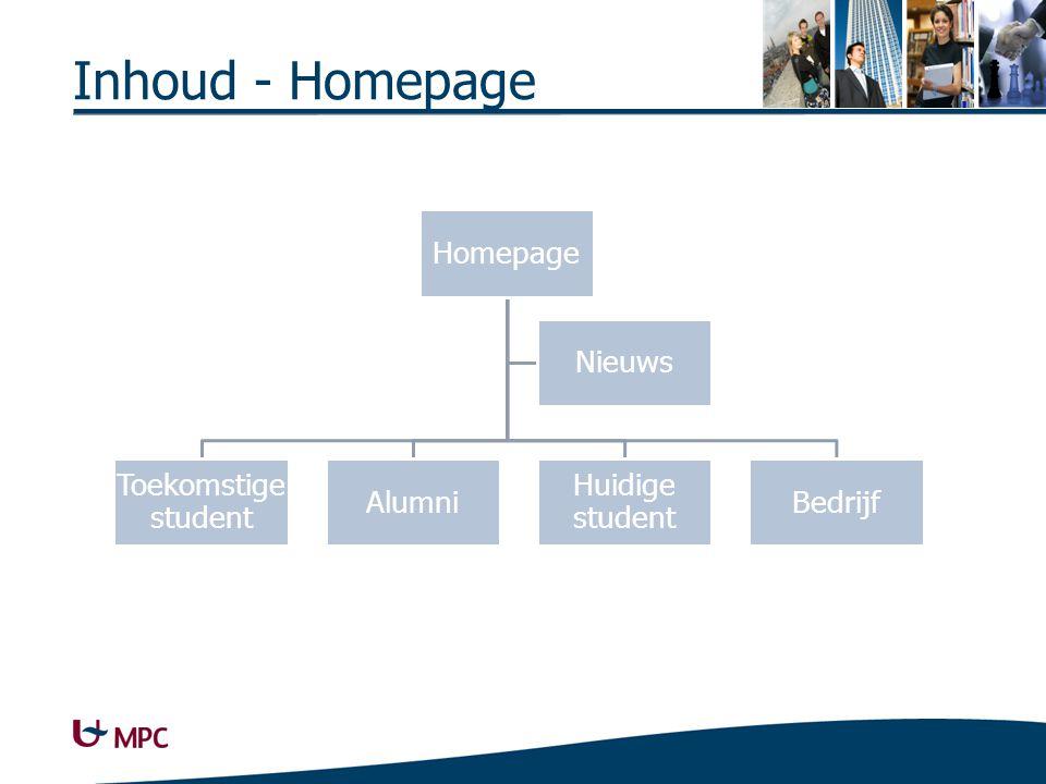 Inhoud - Homepage Homepage Toekomstige student Alumni Huidige student Bedrijf Nieuws