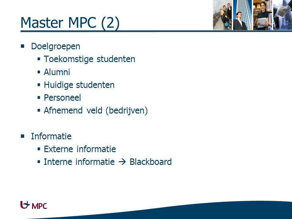 Master MPC (2)  Doelgroepen  Toekomstige studenten  Alumni  Huidige studenten  Personeel  Afnemend veld (bedrijven)  Informatie  Externe informatie  Interne informatie  Blackboard