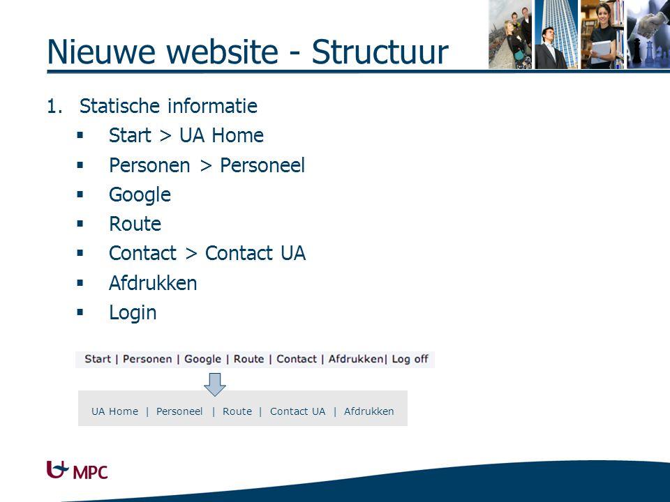 Nieuwe website - Structuur 1.Statische informatie  Start > UA Home  Personen > Personeel  Google  Route  Contact > Contact UA  Afdrukken  Login UA Home | Personeel | Route | Contact UA | Afdrukken