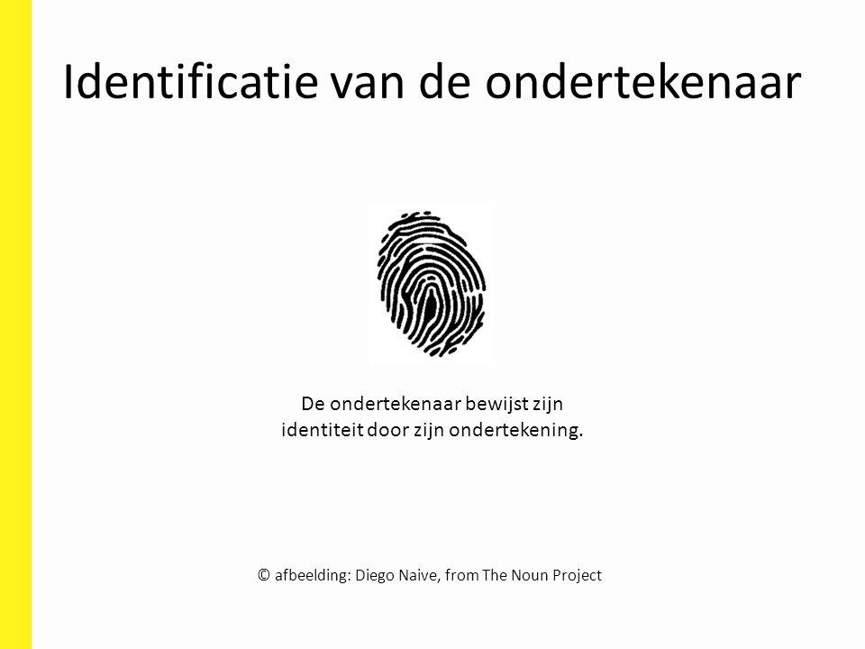 Identificatie van de ondertekenaar © afbeelding: Diego Naive, from The Noun Project De ondertekenaar bewijst zijn identiteit door zijn ondertekening.