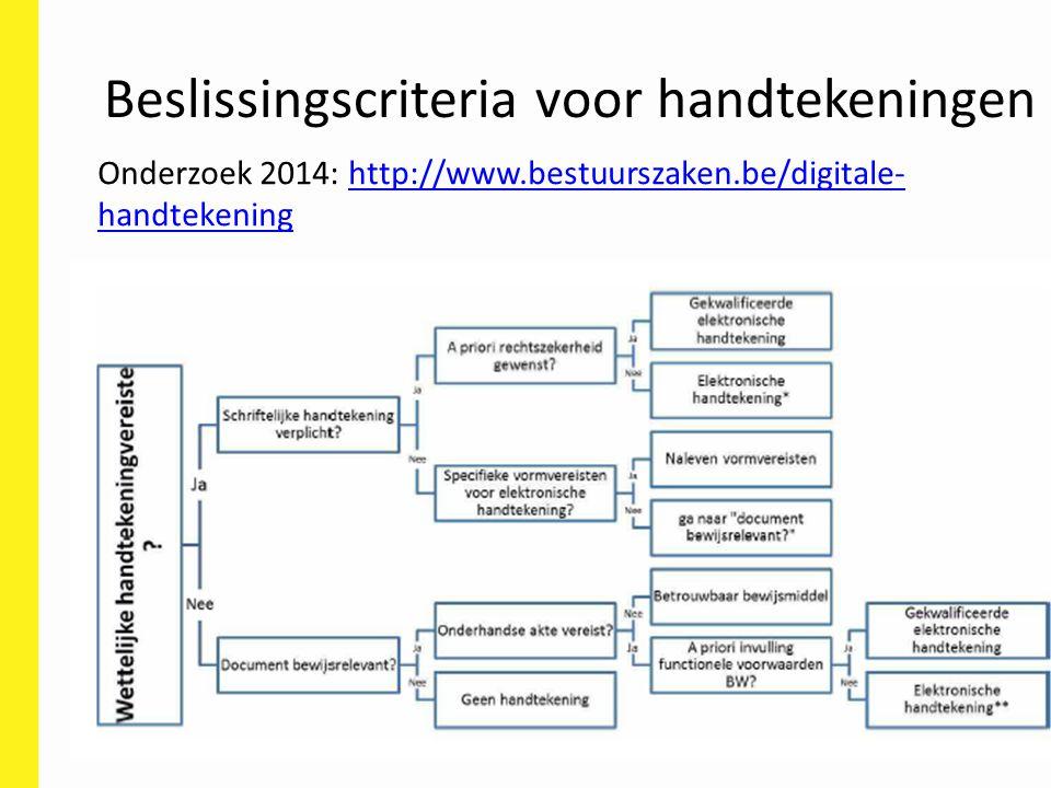 Beslissingscriteria voor handtekeningen Onderzoek 2014: http://www.bestuurszaken.be/digitale- handtekeninghttp://www.bestuurszaken.be/digitale- handte